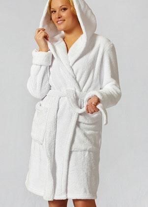 Женские махровые халаты С капюшоном больших размеров  серии Comfort