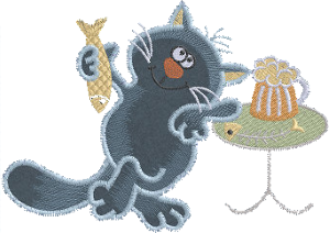 Рисунок для вышивки Кот с кружкой
